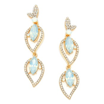 Opal Aurora Ivory Petal Encrusted Drop Bridal Earrings